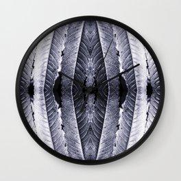 Fresh silver sumac leaves pattern kaleidoscope Wall Clock