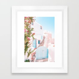 Santorini Greece Mamma Mia Pink House Travel Photography in hd. Framed Art Print