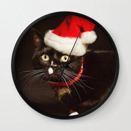Meowry Christmas Kitty Cat Card Wall Clock