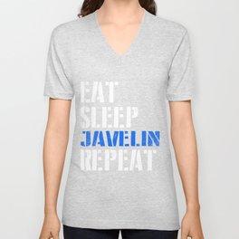 Eat. Sleep. Javelin. Repeat. Unisex V-Neck