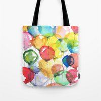 balloons Tote Bags featuring balloons by Katja Main