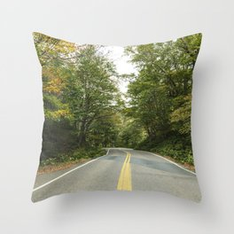 Road through Smugglers Notch a narrow mountain pass surrounded by high bluffs in Lamoille County Ver Throw Pillow