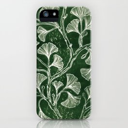 Emerald Green Ginkgo Lino Print iPhone Case