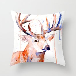 Deer Art Watercolor painting Throw Pillow