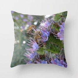 Bees on Buddleia Throw Pillow