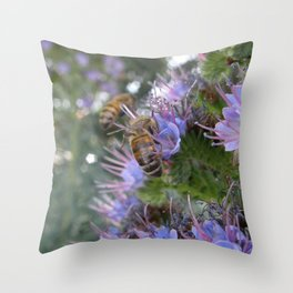 Bees on Buddleia Throw Pillow
