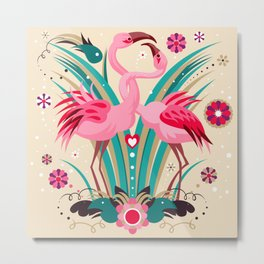 Flamingo in LOVE Metal Print