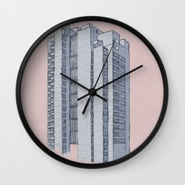Brutalist Architecture Apartment Block Wall Clock