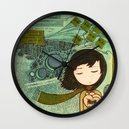 """Ghost figures of past, present, future haunting the heart"" Wall Clock"