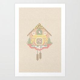 Cuckoo Clock Cross Stitch Art Print