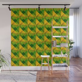 Optical cruciform rectangles of yellow squares in the dark. Wall Mural