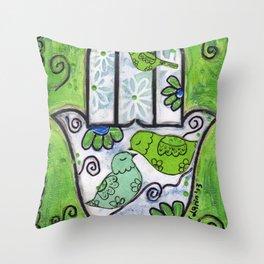 Hamsa with Birds by Flor Larios Throw Pillow