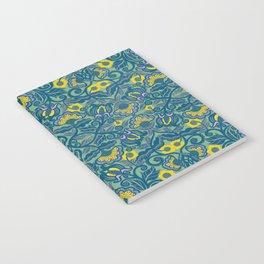Blue Vines and Folk Art Flowers Pattern Notebook