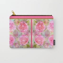 Pink roses on a painterly background Carry-All Pouch