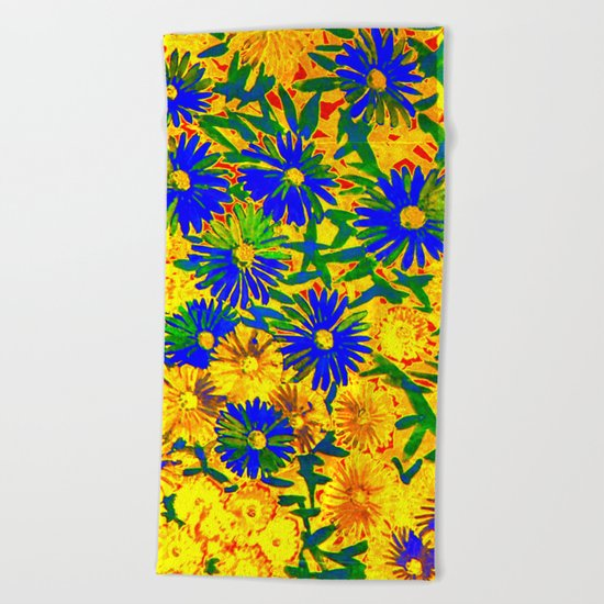 blue flowers by a sunny day Beach Towel