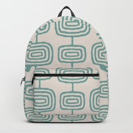 Mid Century Modern Atomic Rings Pattern Foam Green and beige 3 Backpack