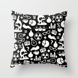 Black and White Science Pattern Throw Pillow