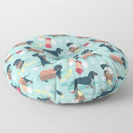 Hot dogs and lemonade // aqua background navy dachshunds Floor Pillow