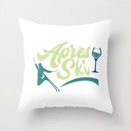 Apres Ski Vintage Jump Throw Pillow