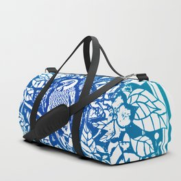 Blue Parakeet In Wreath Lino Cut Duffle Bag