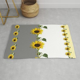 LINEAR YELLOW SUNFLOWERS GREY & WHITE ART Rug