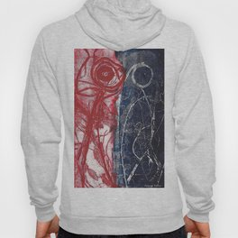 Etching in blue and red Hoody