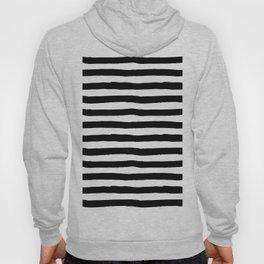 Modern black white watercolor hand painted brushstrokes stripes Hoody