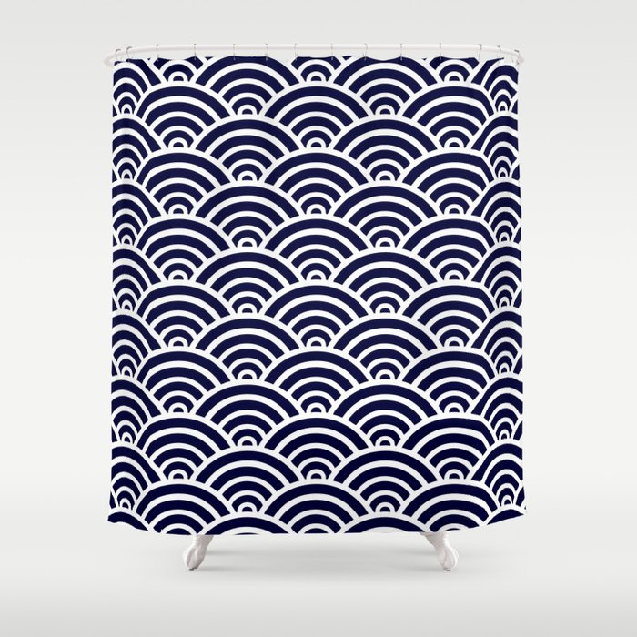 Navy Blue Scallop Pattern Shower Curtain By