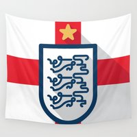 england Wall Tapestries featuring England Minimal by Daniel Nyari