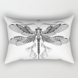 Dragon Fly Tattoo Black and White Rectangular Pillow