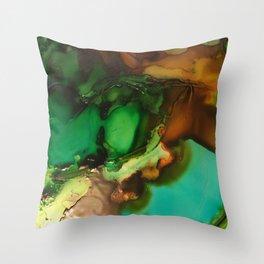 Melting Crystals, Green, Yellow, Brown an Aqua Throw Pillow