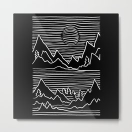 Abstract Mountains Hiker Outfit Metal Print