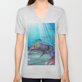 The Mermaid And The Dolphin Unisex V-Neck