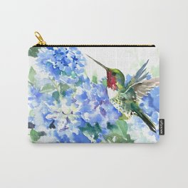 Hydrangea Flowers and Ruby Throat Hummingbird Carry-All Pouch