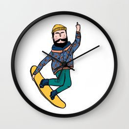 Casual flipping bird grab Wall Clock