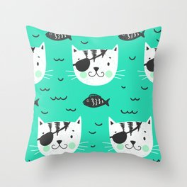 cats in the sea Throw Pillow