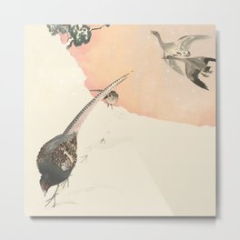 Japanese landscape in snow with birds Metal Print