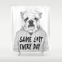 shit Shower Curtains featuring Same shit... by Balazs Solti