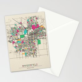 Colorful City Maps: Bakersfield, California Stationery Cards