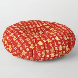 Mandarin Ducks, love and eternal knot pattern Floor Pillow