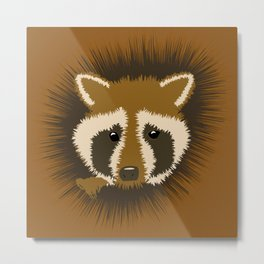Curious Raccoon Peeking from a Tree Metal Print