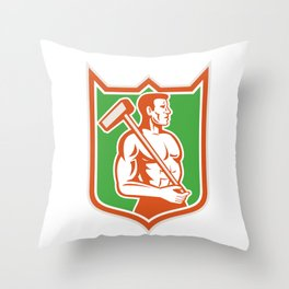 Union Worker With Sledgehammer Shield Retro Throw Pillow
