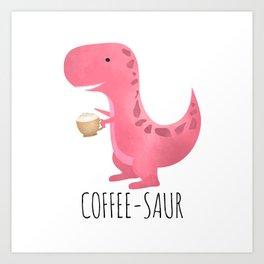 Coffee-saur | Pink Art Print