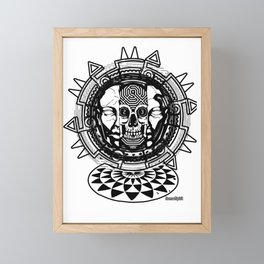 rave party face skull tekno dark tribal artwork Framed Mini Art Print
