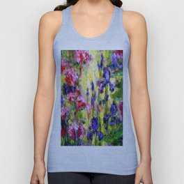 Purple Iris Garden Unisex Tank Top