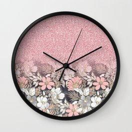 Elegant Gold floral and pink Gradient Glitter Image Wall Clock