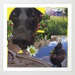 Callie and a Duck Art Print