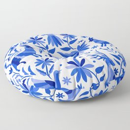 Mexican Otomí Design in Deep Blue Floor Pillow