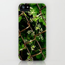 Flowers in the Chainlink Fence iPhone Case