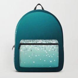 Silver Glitter Blue Gradient Pretty Fancy Sparkling Backpack
